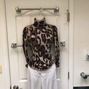 Authentic DVF animal print turtleneck sweater